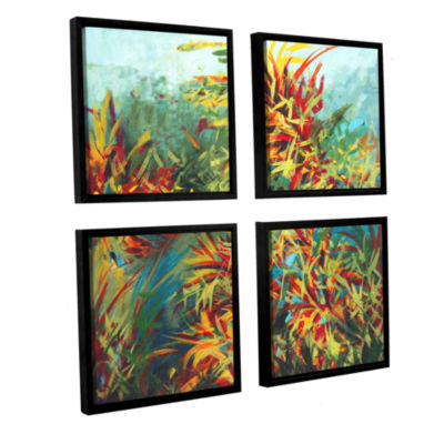 Brushstone Quiet Lake II 4-pc. Square Floater Framed Canvas Wall Art