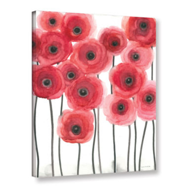 Brushstone Poppies On White Gallery Wrapped CanvasWall Art