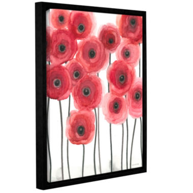 Brushstone Poppies On White Gallery Wrapped Floater-Framed Canvas Wall Art