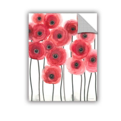 Brushstone Poppies On White Removable Wall Decal