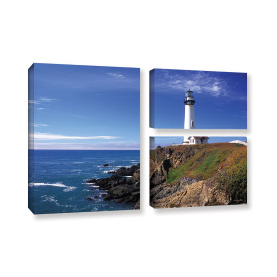 Brushstone Pigeon Point Lighthouse 3-pc. Flag Gallery Wrapped Canvas Wall Art