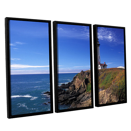 Brushstone Pigeon Point Lighthouse 3-pc. Floater Framed Canvas Wall Art