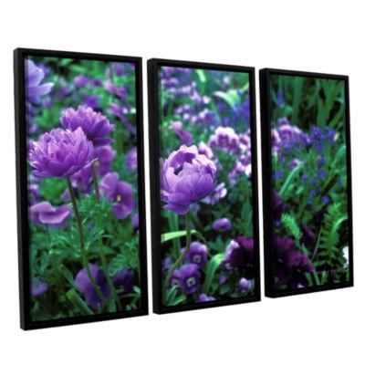 Brushstone Poppies In Monets 3-pc. Floater FramedCanvas Wall Art
