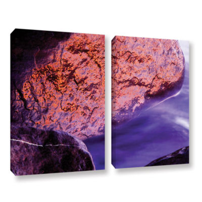 Brushstone Rock Surf And Sunset 2-pc. Gallery Wrapped Canvas Wall Art