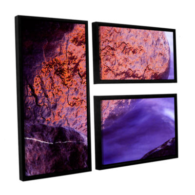 Brushstone Rock Surf And Sunset 3-pc. Flag FloaterFramed Canvas Wall Art
