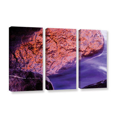 Brushstone Rock Surf And Sunset 3-pc. Gallery Wrapped Canvas Wall Art