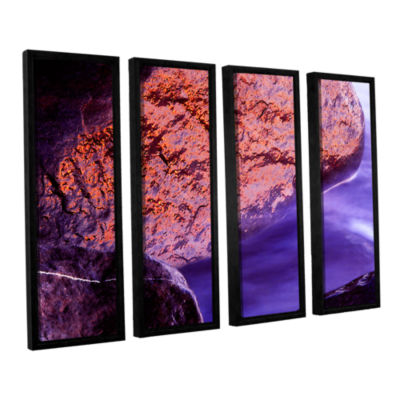 Brushstone Rock Surf And Sunset 4-pc. Floater Framed Canvas Wall Art