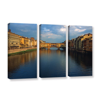 Brushstone Ponte Vecchio Sunset 3-pc. Gallery Wrapped Canvas Wall Art