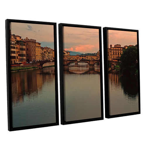 Brushstone Ponte Vecchio Reflections 3-pc. FloaterFramed Canvas Wall Art