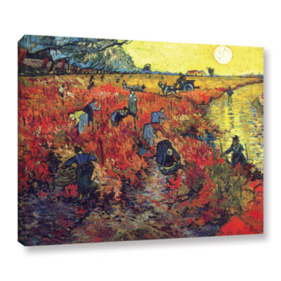 Brushstone Red Vinyard At Aries Gallery Wrapped Canvas Wall Art