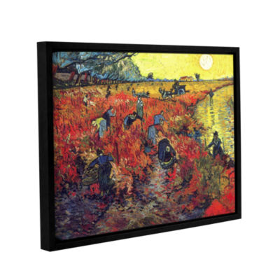 Brushstone Red Vinyard At Aries Gallery Wrapped Floater-Framed Canvas Wall Art