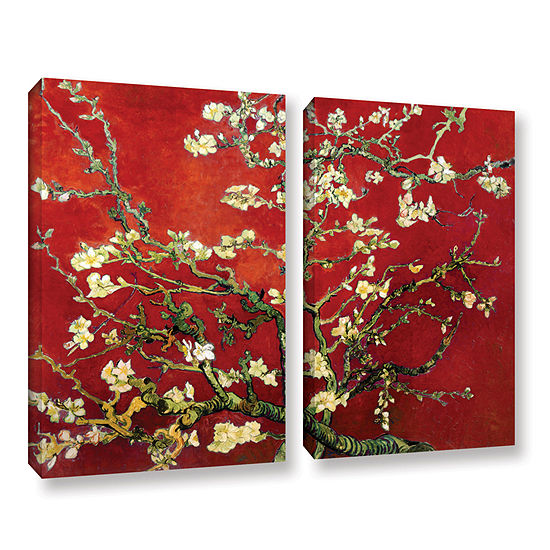 Brushstone Red Blossoming Almond Tree 2 Pc Gallery Wrapped Canvas Wall Art