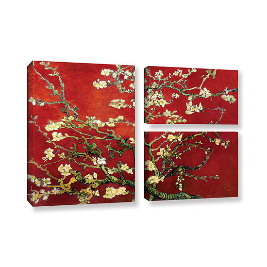 Brushstone Red Blossoming Almond Tree 3 Pc Flag Gallery Wrapped Canvas Wall Art