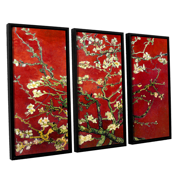 Brushstone Red Blossoming Almond Tree 3-pc. Floater Framed Canvas Wall Art
