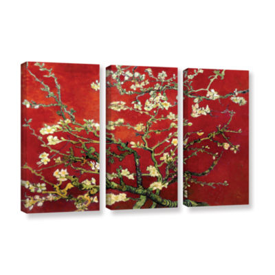 Brushstone Red Blossoming Almond Tree 3-pc. Gallery Wrapped Canvas Wall Art