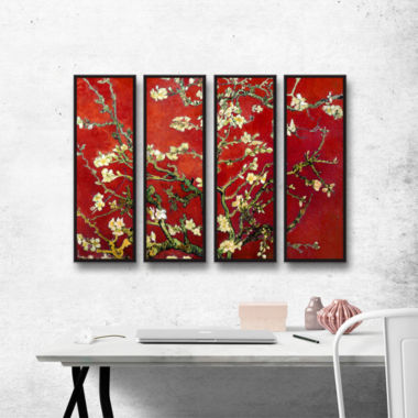 Brushstone Red Blossoming Almond Tree 4-pc. Floater Framed Canvas Wall Art