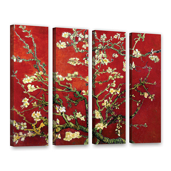 Brushstone Red Blossoming Almond Tree 4-pc. Gallery Wrapped Canvas Wall Art