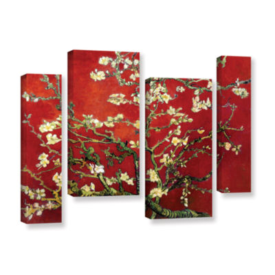 Brushstone Red Blossoming Almond Tree 4-pc. Gallery Wrapped Staggered Canvas Wall Art
