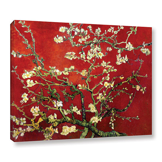 Brushstone Red Blossoming Almond Tree Gallery Wrapped Canvas Wall Art
