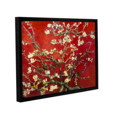 Brushstone Red Blossoming Almond Tree Gallery Wrapped Floater-Framed Canvas Wall Art
