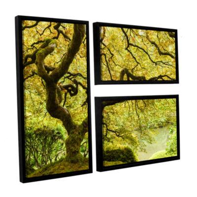 Brushstone Portland Japanese Garden 2 3-pc. Flag Floater Framed Canvas Wall Art