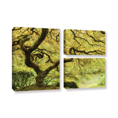 Brushstone Portland Japanese Garden 2 3-pc. Flag Gallery Wrapped Canvas Wall Art