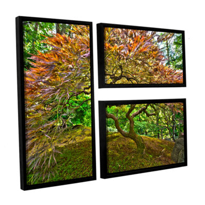 Brushstone Portland Japanese Garden 3 3-pc. Flag Floater Framed Canvas Wall Art
