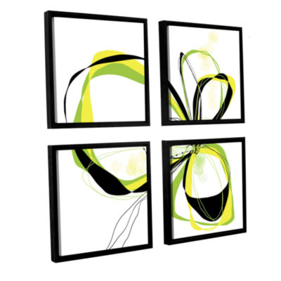 Brushstone Ribbons 2 4-pc. Square Floater Framed Canvas Wall Art