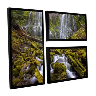 Brushstone Proxy Falls Oregon 1 3-pc. Flag FloaterFramed Canvas Wall Art