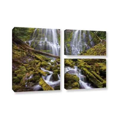 Brushstone Proxy Falls Oregon 1 3-pc. Flag GalleryWrapped Canvas Wall Art