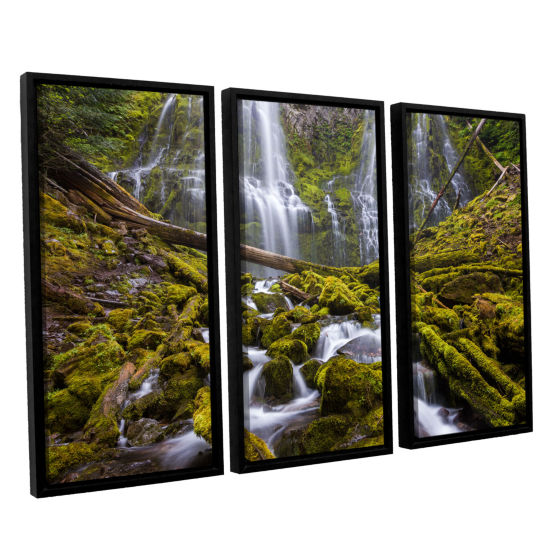 Brushstone Proxy Falls Oregon 1 3-pc. Floater Framed Canvas Wall Art