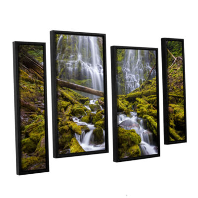 Brushstone Proxy Falls Oregon 1 4-pc. Floater Framed Staggered Canvas Wall Art