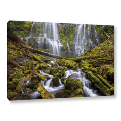 Brushstone Proxy Falls Oregon 1 Gallery Wrapped Canvas Wall Art