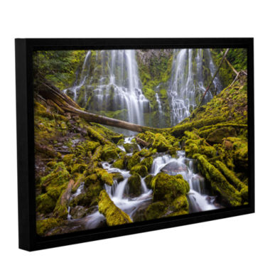 Brushstone Proxy Falls Oregon 1 Gallery Wrapped Floater-Framed Canvas Wall Art