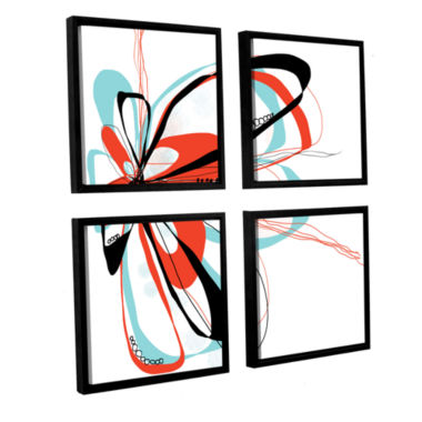 Brushstone Ribbons 4 4-pc. Square Floater Framed Canvas Wall Art
