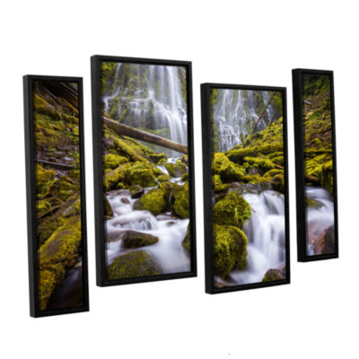 Brushstone Proxy Falls Oregon 2 4-pc. Floater Framed Staggered Canvas Wall Art