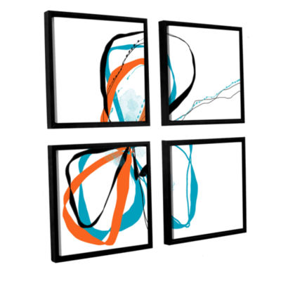 Brushstone Ribbons 4-pc. Square Floater Framed Canvas Wall Art