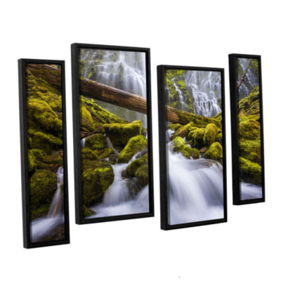 Brushstone Proxy Falls Oregon 3 4-pc. Floater Framed Staggered Canvas Wall Art
