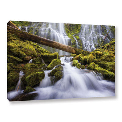 Brushstone Proxy Falls Oregon 3 Gallery Wrapped Canvas Wall Art