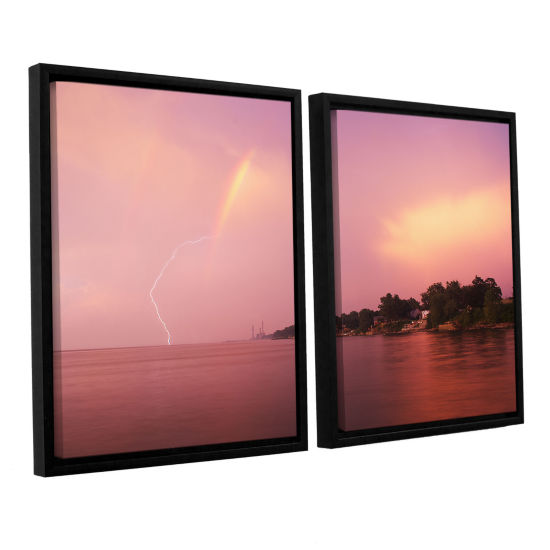 Brushstone Rainbows And Lightning 2-pc. Floater Framed Canvas Wall Art