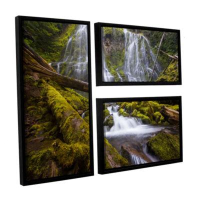 Brushstone Proxy Falls Oregon 4 3-pc. Flag FloaterFramed Canvas Wall Art