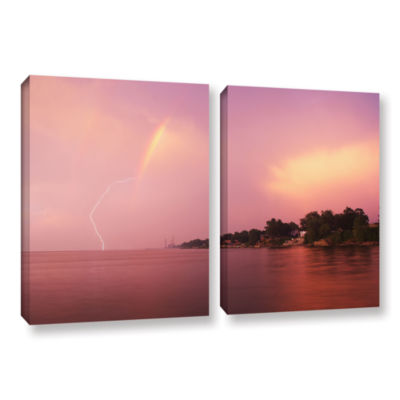 Brushstone Rainbows And Lightning 2-pc. Gallery Wrapped Canvas Wall Art