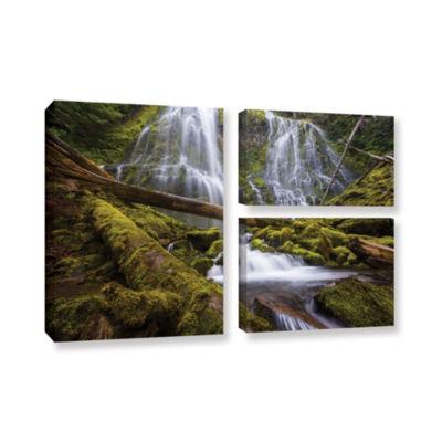 Brushstone Proxy Falls Oregon 4 3-pc. Flag GalleryWrapped Canvas Wall Art