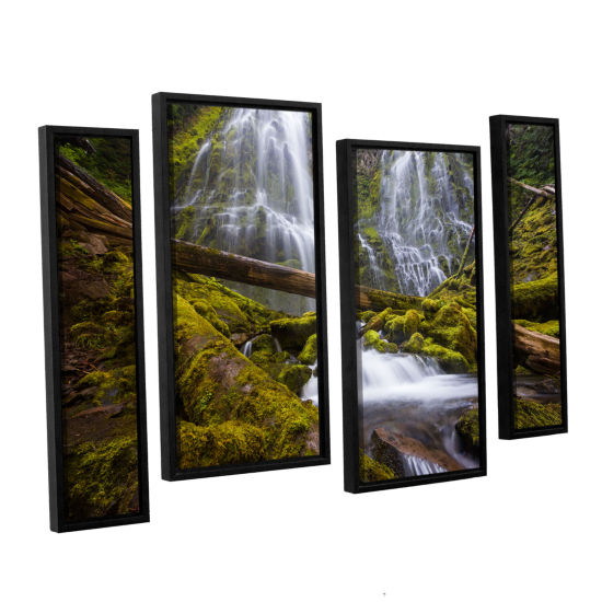Brushstone Proxy Falls Oregon 4 4-pc. Floater Framed Staggered Canvas Wall Art