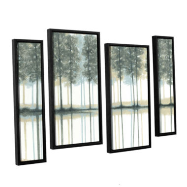 Brushstone Reflection 4-pc. Floater Framed Staggered Canvas Wall Art