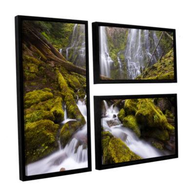 Brushstone Proxy Falls Oregon 6 3-pc. Flag FloaterFramed Canvas Wall Art