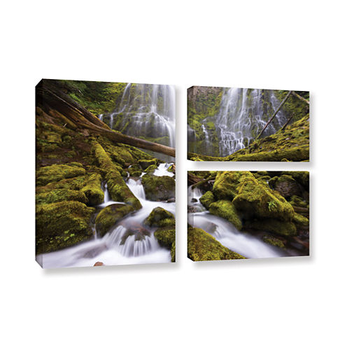Brushstone Proxy Falls Oregon 6 3-pc. Flag GalleryWrapped Canvas Wall Art