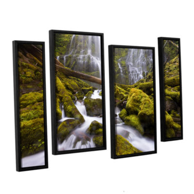 Brushstone Proxy Falls Oregon 6 4-pc. Floater Framed Staggered Canvas Wall Art
