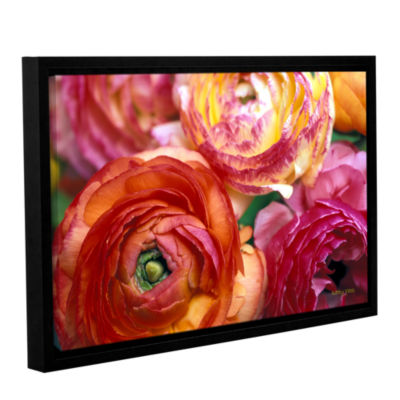 Brushstone Ranunculus Close Up Gallery Wrapped Floater-Framed Canvas Wall Art
