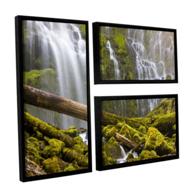 Brushstone Proxy Falls Oregon 7 3-pc. Flag FloaterFramed Canvas Wall Art